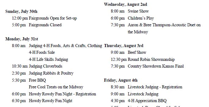 *Updated* Northwest Kansas District Free Fair Schedule